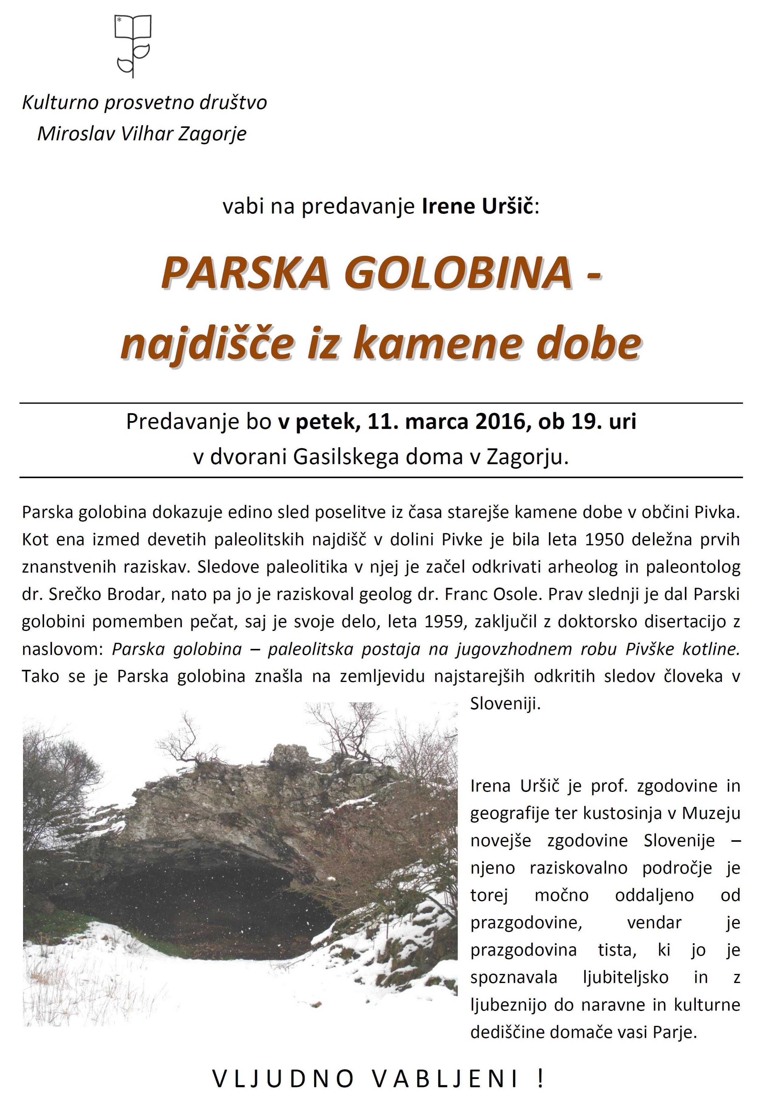 """Predavanje """"PARSKA GOLOBINA -najdišče iz kamene dobe"""" - pivka.si"""